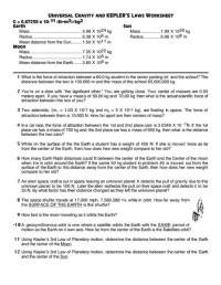 Universal Gravitation Worksheet Free Worksheets Library ...