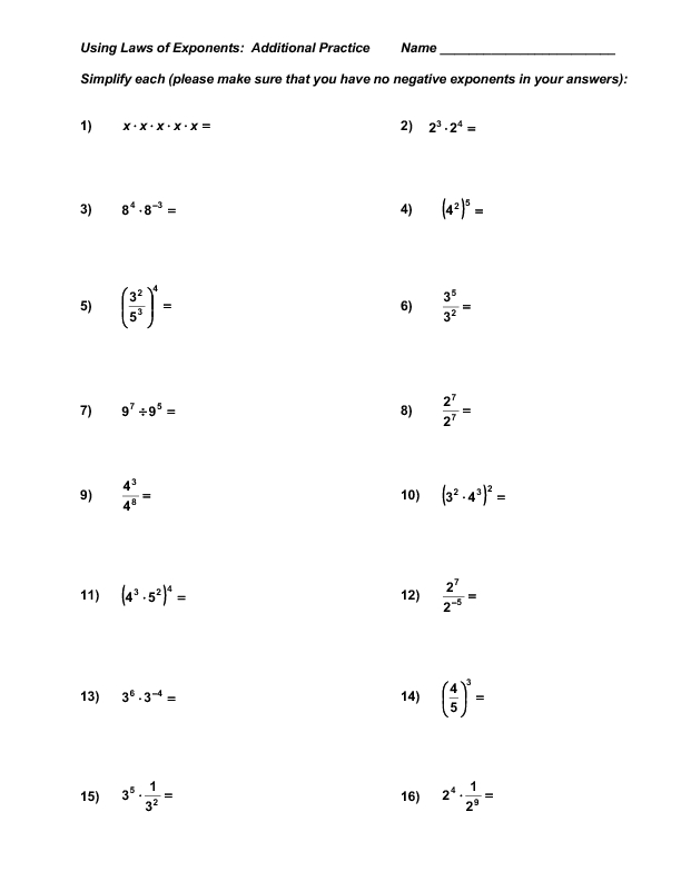 Exponent Properties Worksheet. Worksheets. Releaseboard