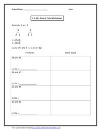 Least Common Multiple Worksheet Fifth Grade - adding ...