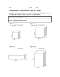 Free Math Worksheets Surface Area Cylinder - surface area ...