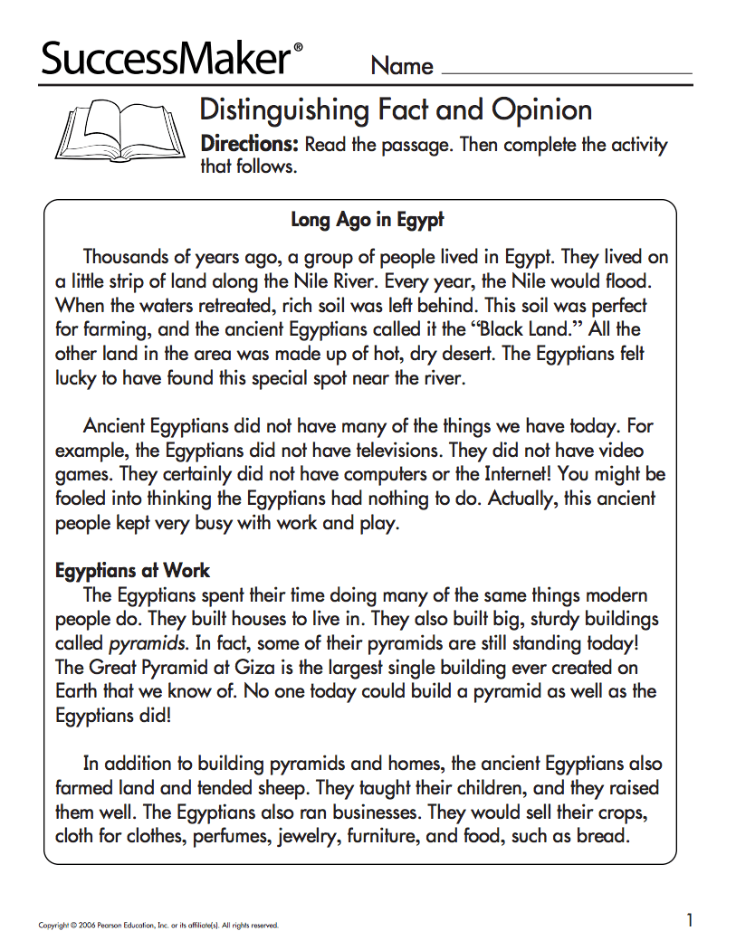 Fact and Opinion Passages Lesson Plans \u0026 Worksheets [ 1050 x 813 Pixel ]