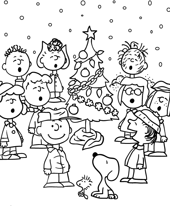 charlie brown christmas coloring pages  the peanuts
