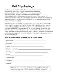 Cell City Analogy Worksheet for 9th - 12th Grade | Lesson ...