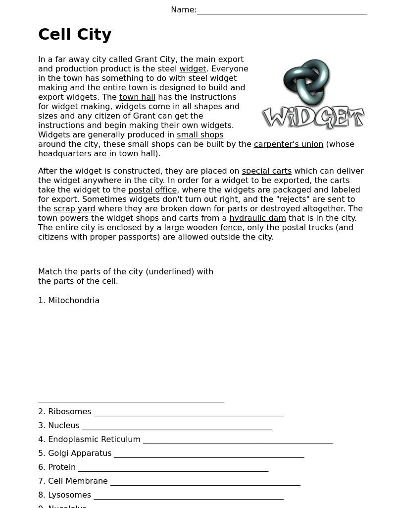 small resolution of Cell City Analogy Worksheet for All Grades   Lesson Planet