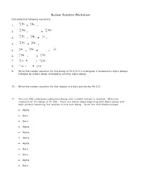 Nuclear Decay Worksheet. Worksheets. Whenjewswerefunny ...