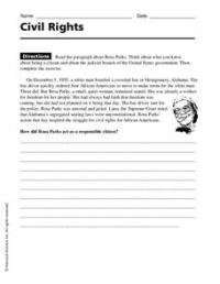 Civil Rights Worksheet for 4th - 8th Grade | Lesson Planet