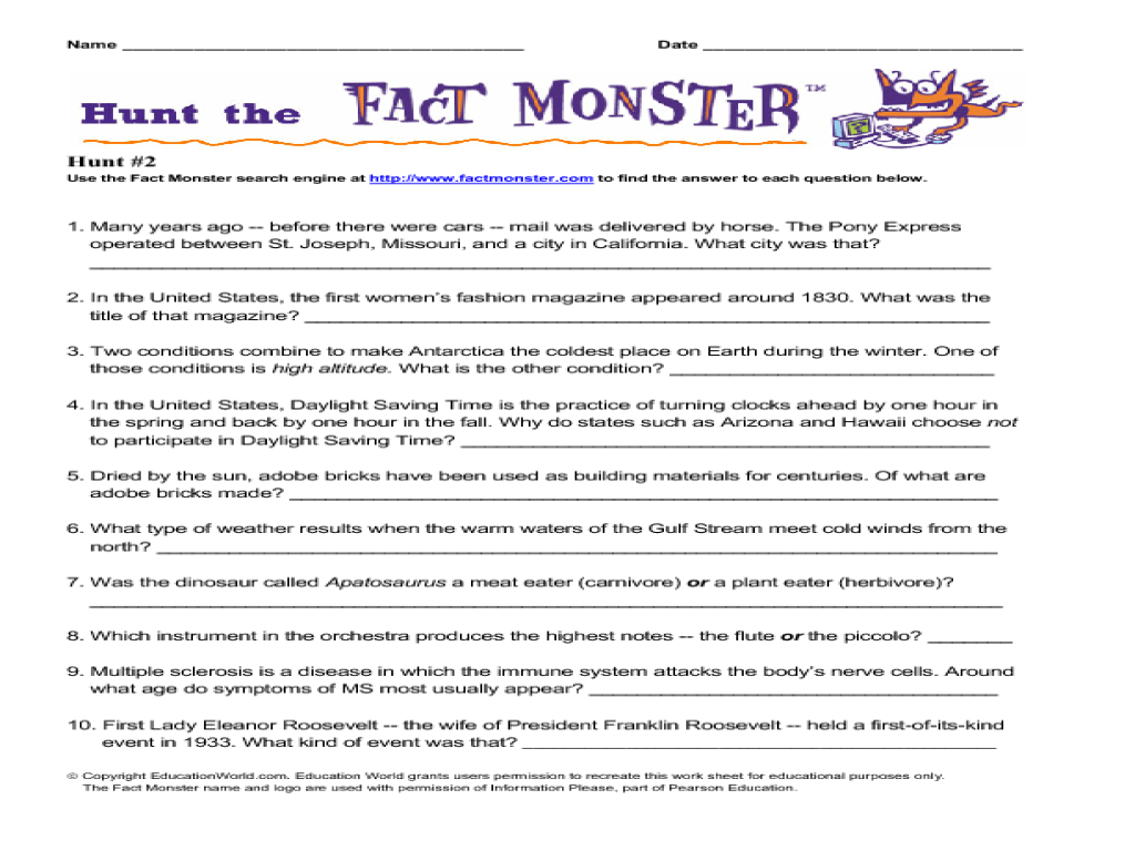 Hunt the Fact Monster (Hunt #2) Worksheet for 3rd - 5th Grade   Lesson  Planet [ 768 x 1024 Pixel ]