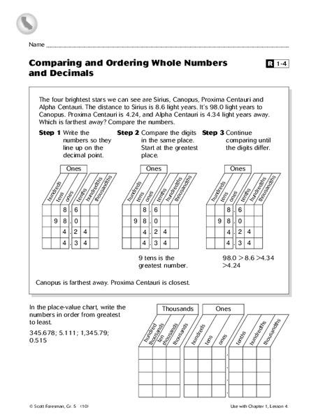 Order Greatest Least Decimal Worksheet