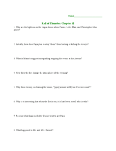 roll of thunder hear my cry plot diagram computer fan wiring mildred taylor lesson plans worksheets reviewed by teachers chapter 12