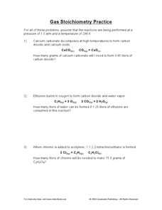 Gas Stoichiometry Practice Worksheet For 10th  12th Grade
