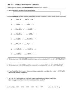 Acid Base Neutralization Reaction Worksheet : neutralization, reaction, worksheet, Acid-Base, Neutralization, Titration, Worksheet, Grade, Lesson, Planet