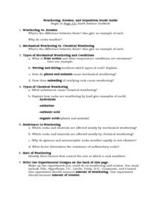weathering and erosion venn diagram stem leaf range deposition study guide worksheet for 8th