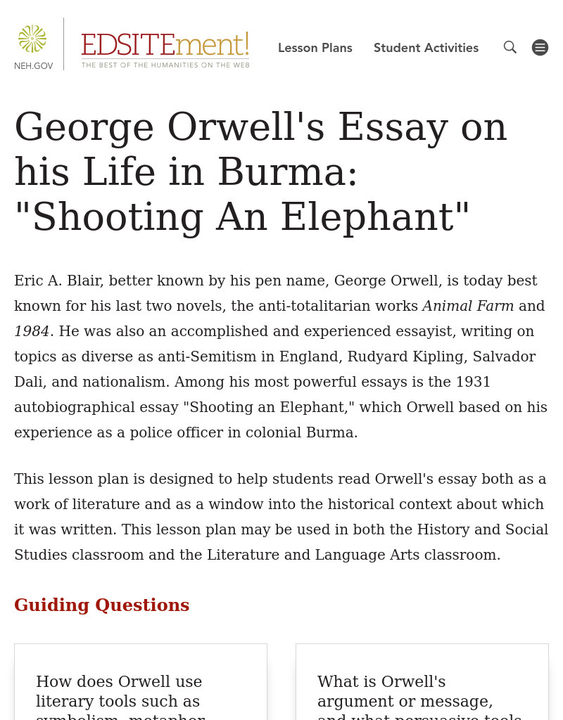 George Orwell S Essay His Life In Burma Shooting An