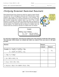 Redox Reactions And Electrochemistry Worksheet - Kidz ...