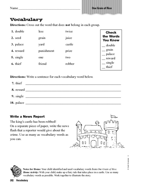 Vocabulary One Grain Of Rice Worksheet For 3rd  4th Grade  Lesson Planet