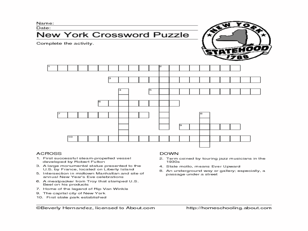 New York Crossword Puzzle Worksheet for 4th - 5th Grade   Lesson Planet [ 768 x 1024 Pixel ]