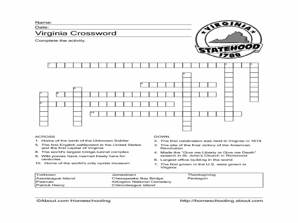 Virginia Crossword Puzzle Worksheet Worksheet for 4th - 6th Grade   Lesson  Planet [ 768 x 1024 Pixel ]