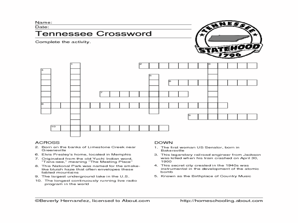 Tennessee Crossword Puzzle Worksheet for 3rd - 6th Grade   Lesson Planet [ 768 x 1024 Pixel ]