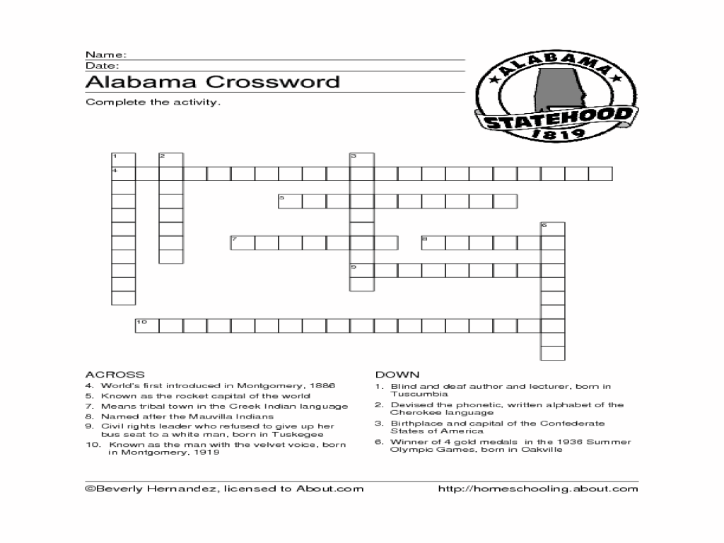 Alabama Crossword Puzzle Worksheet for 4th - 6th Grade   Lesson Planet [ 768 x 1024 Pixel ]
