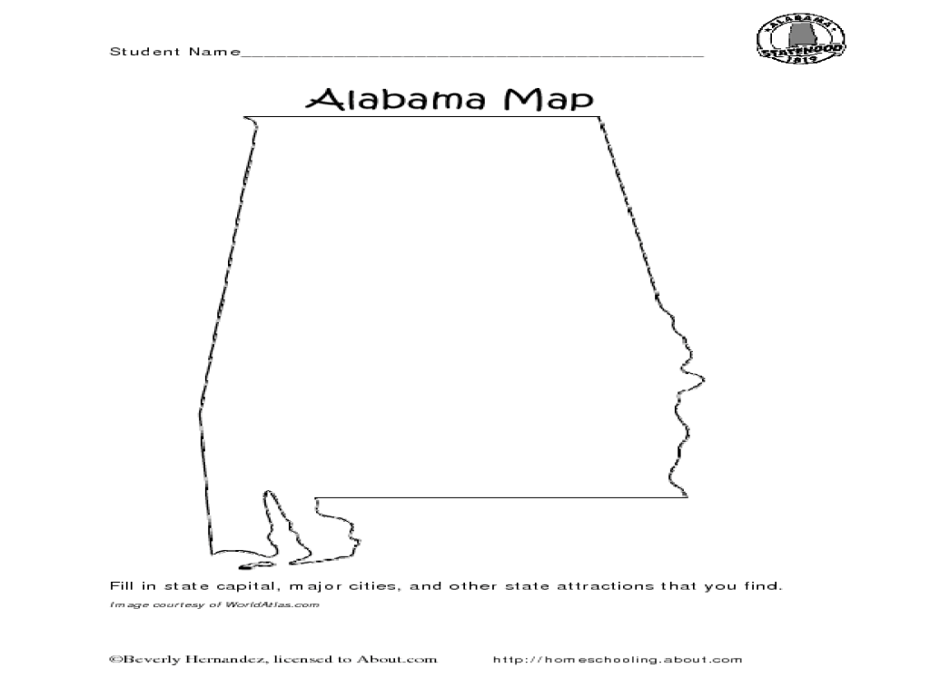 hight resolution of Alabama Map Worksheet for 4th - 5th Grade   Lesson Planet