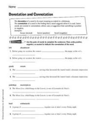 Denotation and Connotation Worksheet for 6th - 8th Grade ...