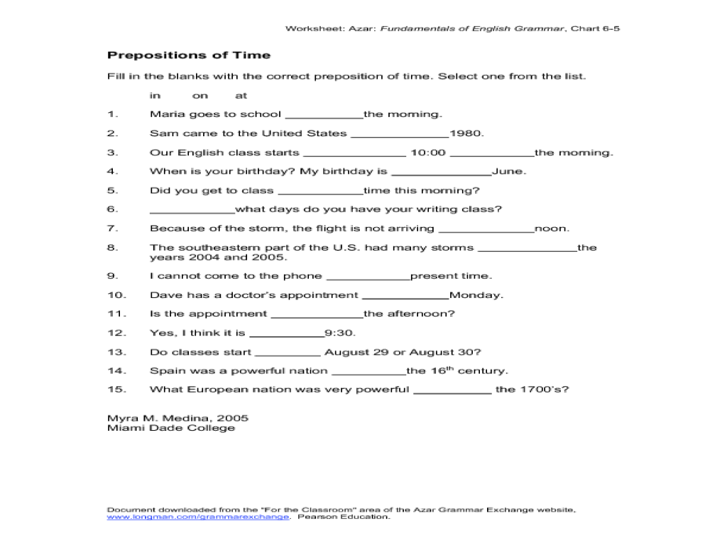 small resolution of Prepositions of Time Worksheet for 4th - 7th Grade   Lesson Planet