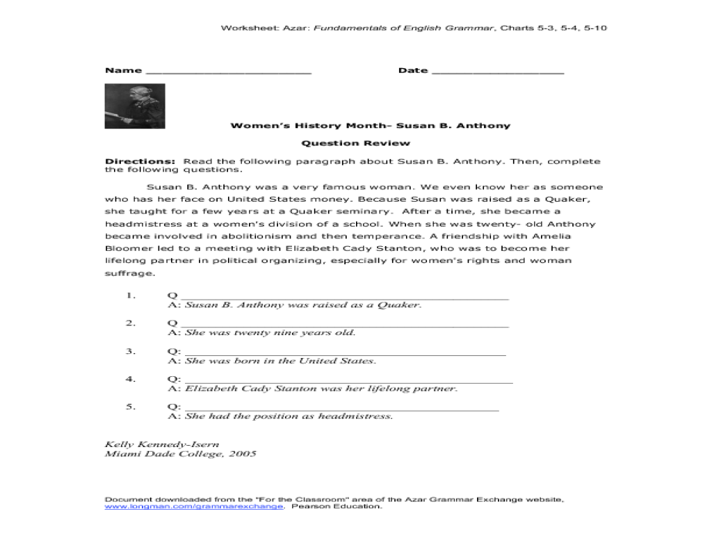 small resolution of Women's History Month- Susan B. Anthony Worksheet for 7th - 12th Grade    Lesson Planet