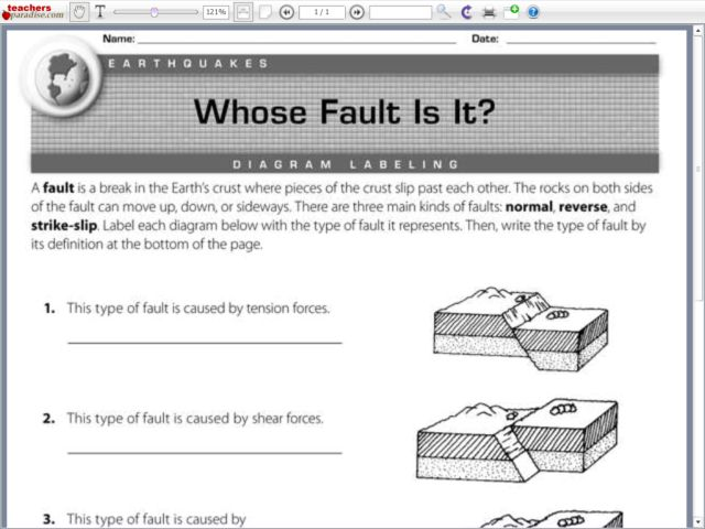 Whose Fault Is It? Diagram Labeling Worksheet for 6th  7th Grade | Lesson Pla