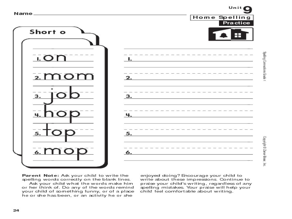 1st Grade Spelling: Short o Worksheet for 1st Grade   Lesson Planet [ 768 x 1024 Pixel ]