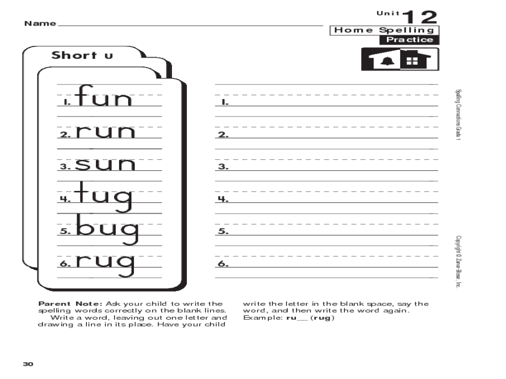 small resolution of Spelling: 1st Grade Short u Worksheet for 1st Grade   Lesson Planet