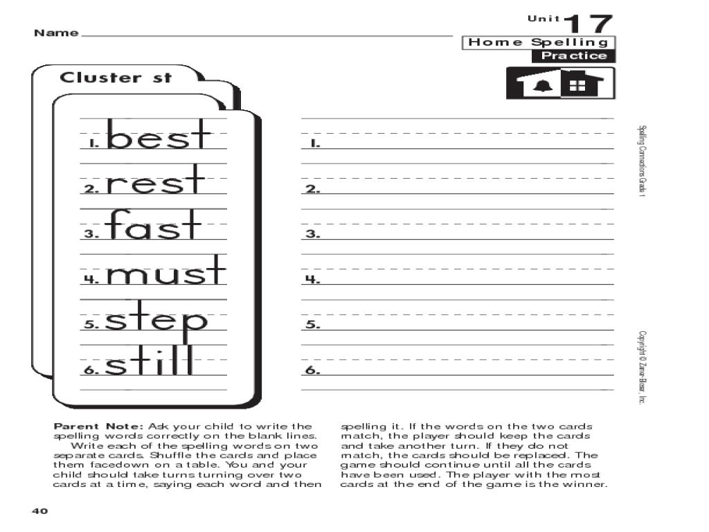 1st Grade Spelling: -st Clusters Worksheet for 1st Grade   Lesson Planet [ 768 x 1024 Pixel ]