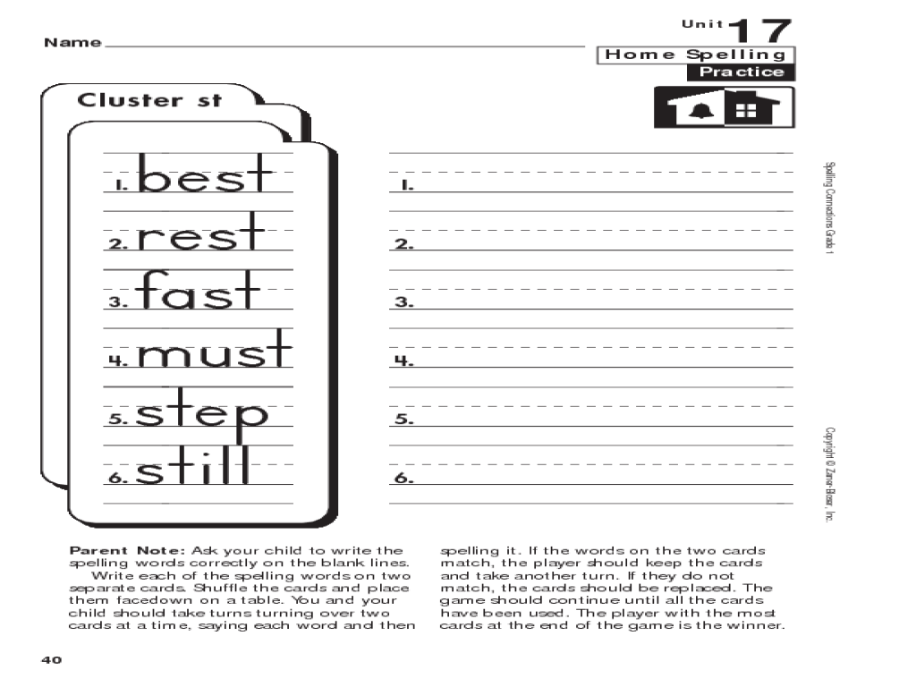 small resolution of 1st Grade Spelling: -st Clusters Worksheet for 1st Grade   Lesson Planet