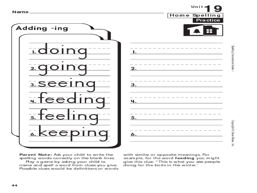 Home Spelling Practice: Grade 1: Adding -ing Worksheet for 1st - 2nd Grade    Lesson Planet [ 768 x 1024 Pixel ]