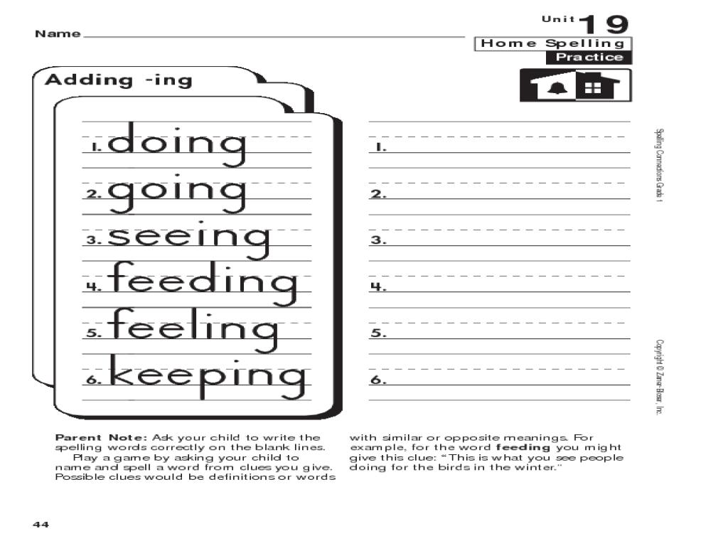 medium resolution of Home Spelling Practice: Grade 1: Adding -ing Worksheet for 1st - 2nd Grade    Lesson Planet