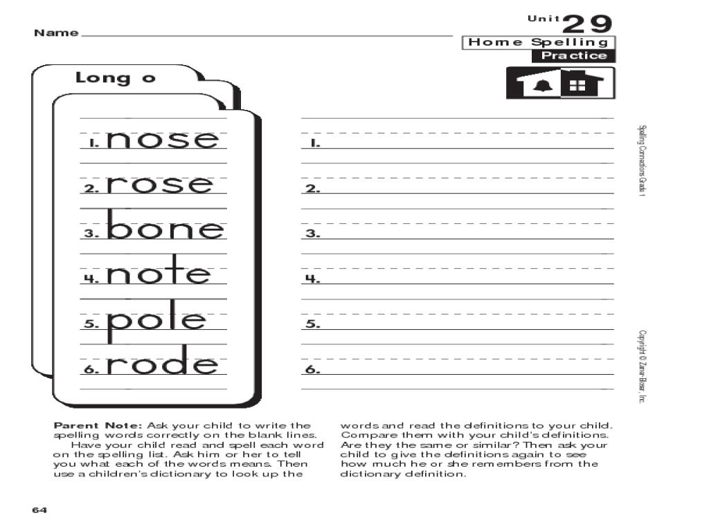 1st Grade Spelling: Long \o\ Worksheet for 1st Grade   Lesson Planet [ 768 x 1024 Pixel ]