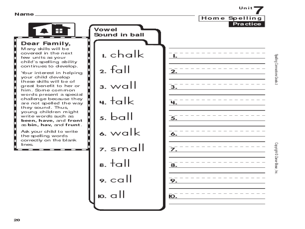 Home Spelling Practice: Grade 2: Vowel Sound in Ball Worksheet for 1st - 2nd  Grade   Lesson Planet [ 768 x 1024 Pixel ]
