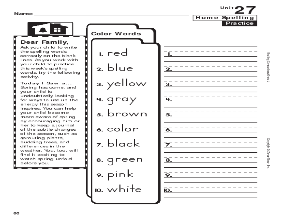 Home Spelling Practice: Color Words Worksheet for 1st - 3rd Grade   Lesson  Planet [ 768 x 1024 Pixel ]