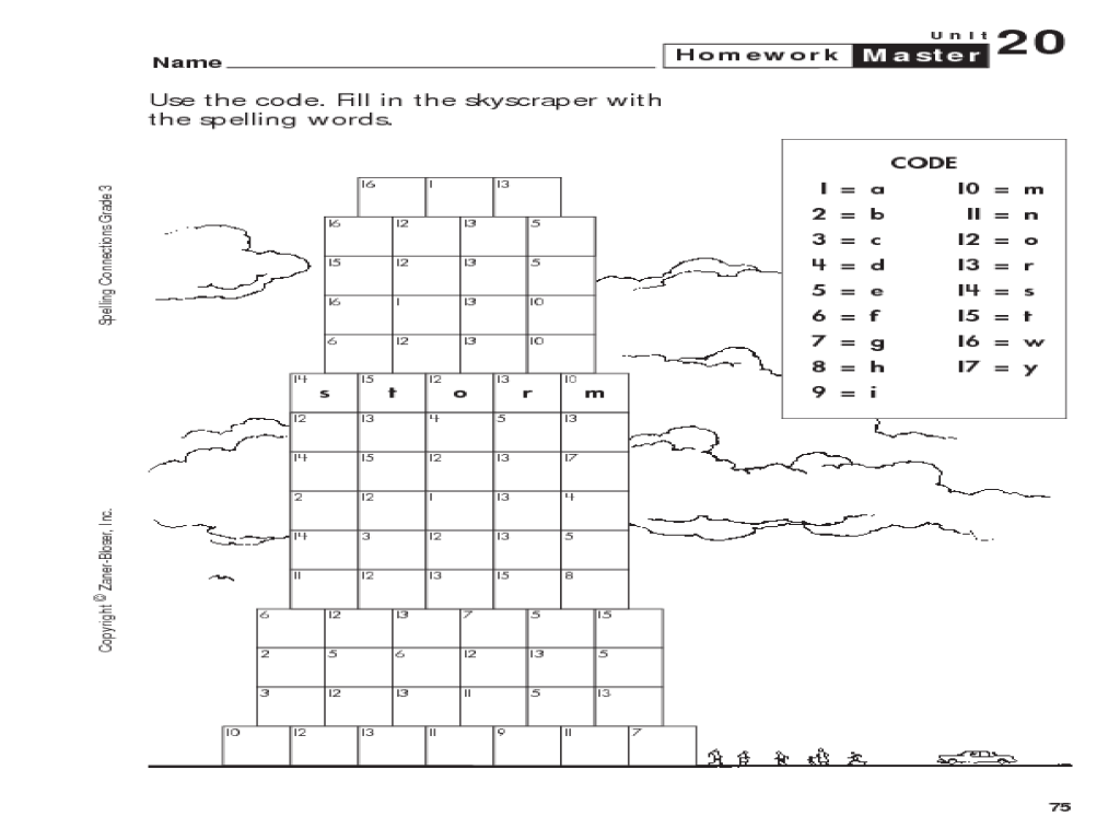 small resolution of Spelling Connections: Grade 3: Spelling Words in Code Worksheet for 3rd -  4th Grade   Lesson Planet