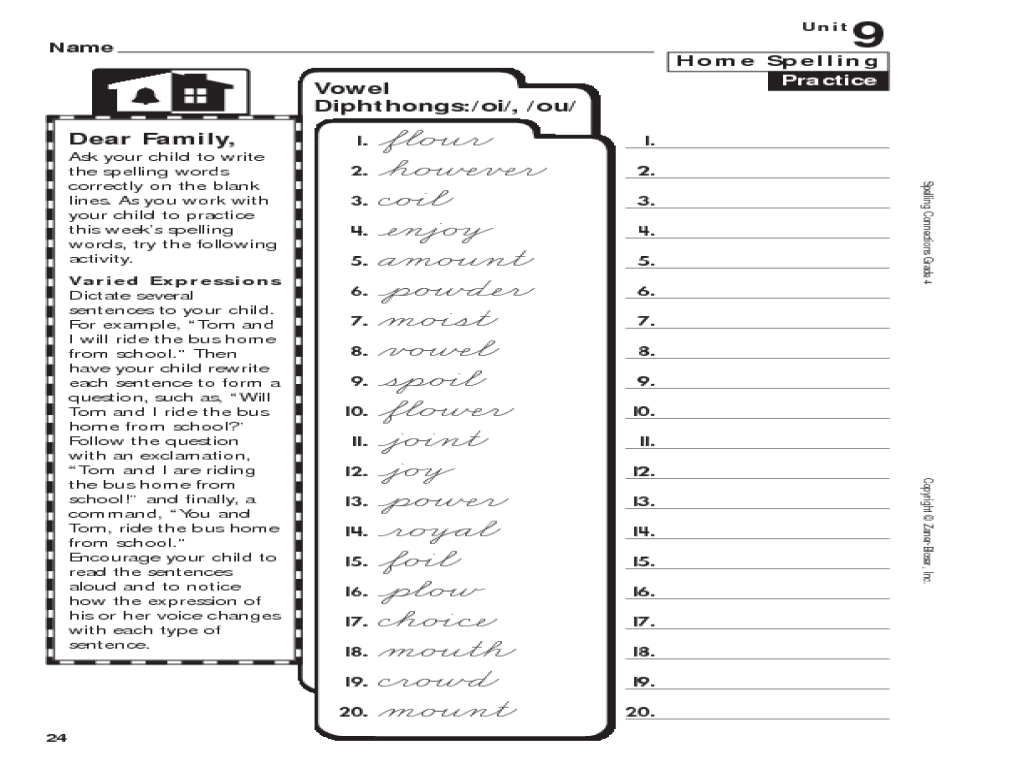 Grade 4 Spelling: Diphthongs oi/ou Worksheet for 4th Grade   Lesson Planet [ 768 x 1024 Pixel ]