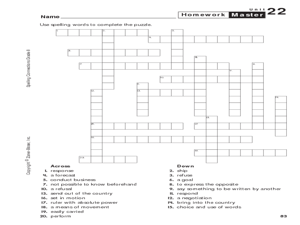 Spelling Crossword Puzzle Worksheet for 4th - 5th Grade   Lesson Planet [ 768 x 1024 Pixel ]
