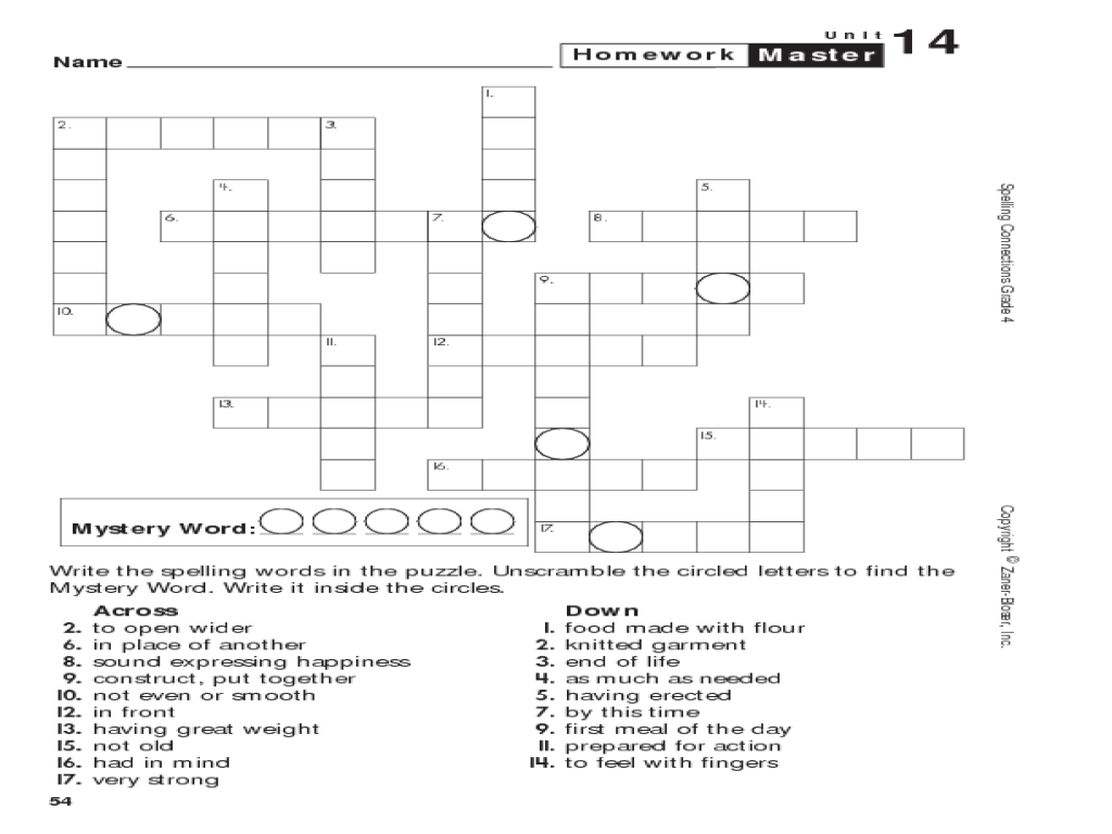 small resolution of Spelling Connections: Grade 4 Crossword Puzzle Worksheet for 4th - 5th Grade    Lesson Planet