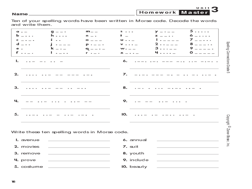 Spelling Connections: Grade 5: Spelling Words in Morse Code Worksheet for  5th - 6th Grade   Lesson Planet [ 768 x 1024 Pixel ]