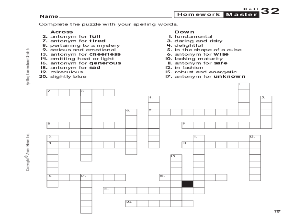 hight resolution of Spelling Connections: Grade 5: Crossword Puzzle Worksheet for 5th - 6th  Grade   Lesson Planet