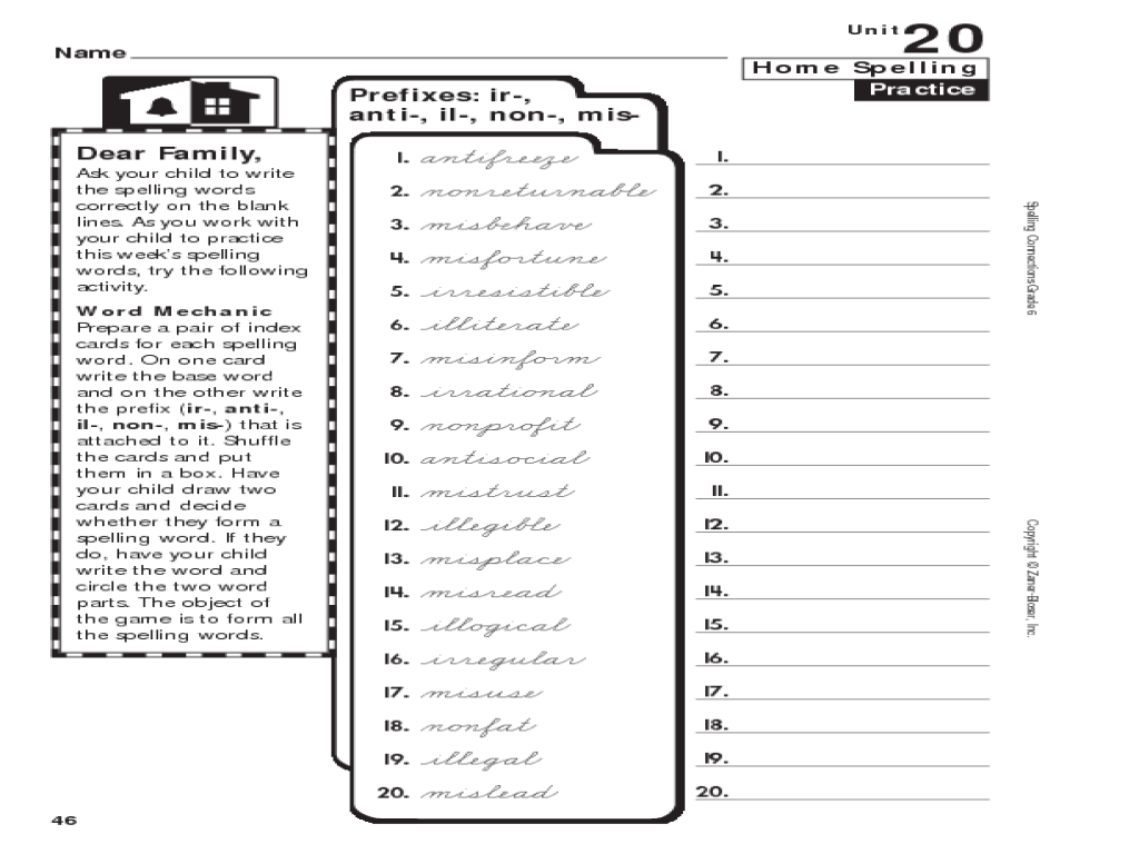 medium resolution of 6th Grade Spelling: Prefixes Worksheet for 6th Grade   Lesson Planet