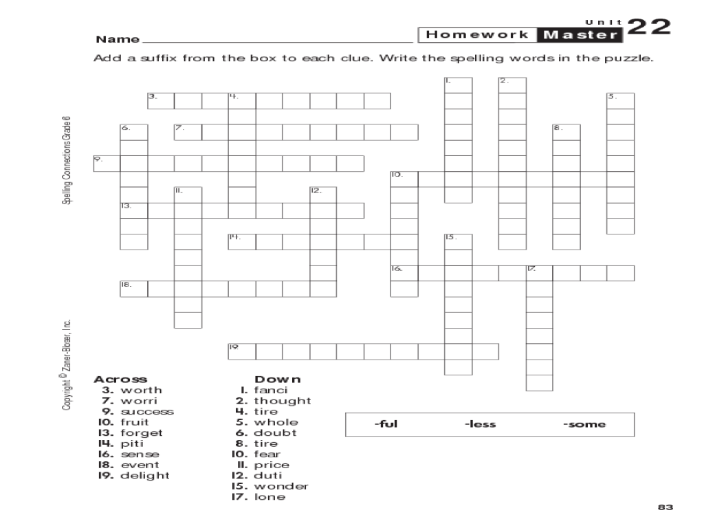 Grade 6 Spelling: Suffixes Crossword Worksheet for 5th - 6th Grade   Lesson  Planet [ 768 x 1024 Pixel ]