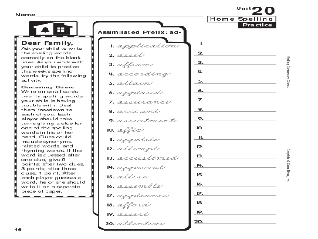 Spelling Connections: Grade 7: Assimilated Prefix: ad- Worksheet for 6th -  8th Grade   Lesson Planet [ 768 x 1024 Pixel ]