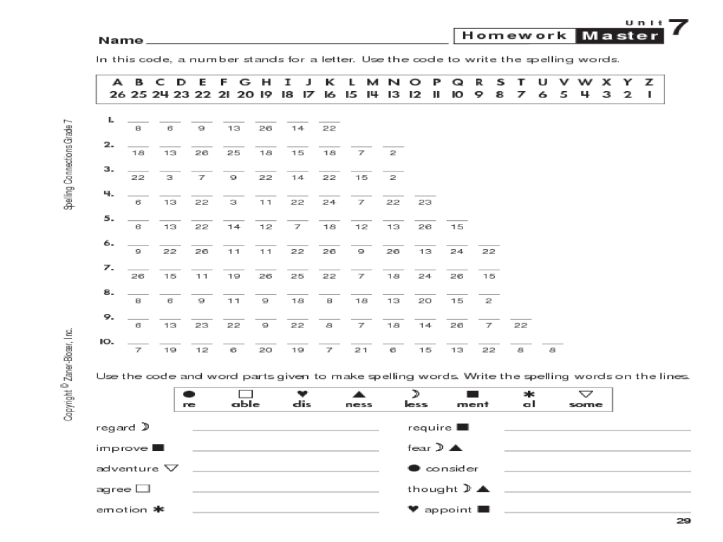 Spelling Connections: Decode Spelling Words Worksheet for 6th - 7th Grade    Lesson Planet [ 768 x 1024 Pixel ]