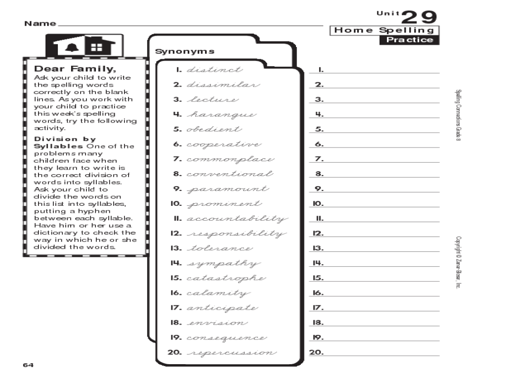 Home Spelling Practice: Synonyms Worksheet for 7th - 8th Grade   Lesson  Planet [ 768 x 1024 Pixel ]