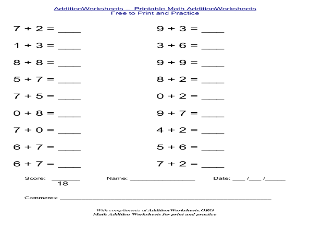 Adding Numbers 0-9 Worksheet for 1st - 2nd Grade   Lesson Planet [ 768 x 1024 Pixel ]