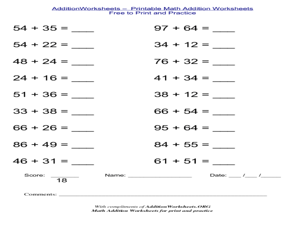 hight resolution of 2-Digit Horizontal Addition Worksheet for 2nd - 3rd Grade   Lesson Planet